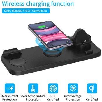Беспроводное универсальное скоростное зарядное устройство 6 в 1 док станция Qi Fast Wireless Charging Dock Pad D6 10W 6 in 1 Black