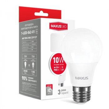 Лампа світлодіодна Maxus A60 (10W, 4100K, 220V, E27)