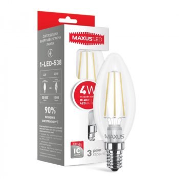 Лампа світлодіодна Maxus C37 FM-C (4W, 4100K, 220V, E14)