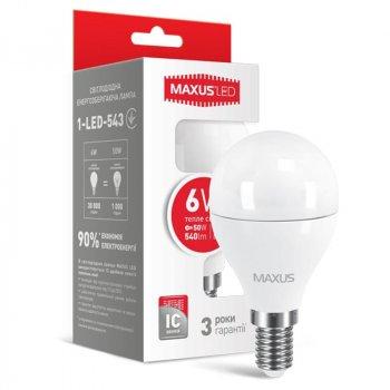 Лампа світлодіодна Maxus G45 F (6W, 3000K, 220V, E14)