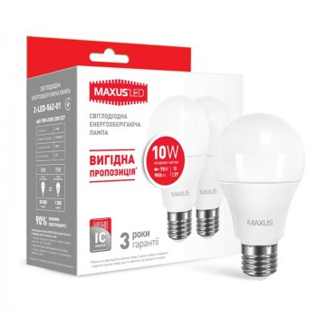 Лампа світлодіодна Maxus A60 (10W, 4100K, 220V, E27), 2шт