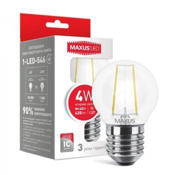 Лампа світлодіодна Maxus G45 FM (4W, 4100K, 220V, E27)