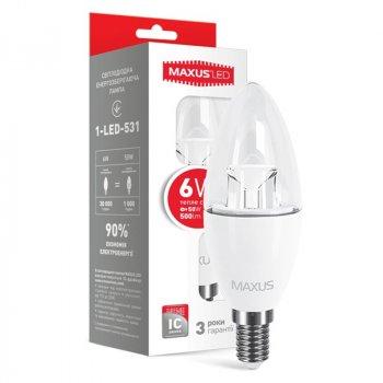 Лампа світлодіодна Maxus C37 CL-C (6W, 3000K, 220V, E14)