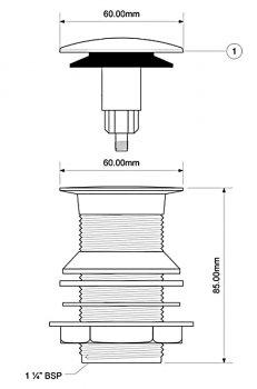 Донный клапан латунный для раковины McALPINE Click-Clack без перелива 1 1/4x90x60 DÉCOR (5036484075031)