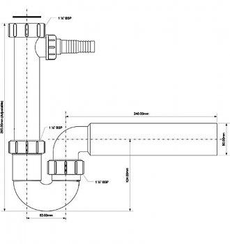 Сифон пластиковый для мойки McALPINE трубный с подключением к стиральной машине без слива 1 1/2x50 мм (5036484500168)