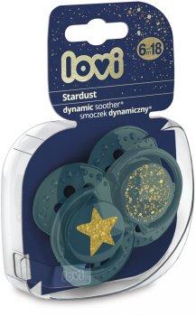 Пустушка силіконова динамічна Lovi Stardust 6-18 місяців 2 шт. Зелена (22/894_green)