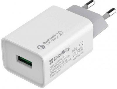 Сетевое зарядное устройство ColorWay 1USB Quick Charge 3.0 (18W) White + Кабель ColorWay USB Type-C 2.1А 1 м Black (CW-CHS013Q-WT-CBU)