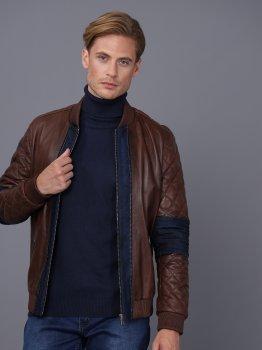 Мужская кожаная куртка BASICS & MORE Коньячный (BA3717989)