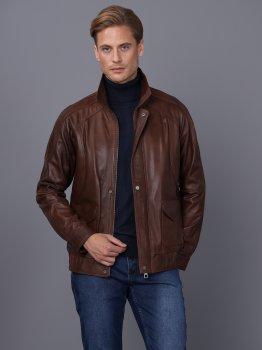 Мужская кожаная куртка BASICS & MORE Коньячный (BA9147575)