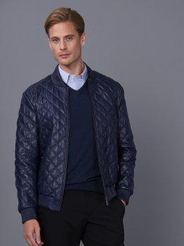 Мужская кожаная куртка BASICS & MORE Темно-синий (BA7885128)