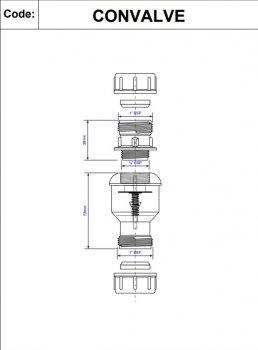 Клапан обратного потока воды McALPINE с мембраной 22х22 мм (5036484008138)