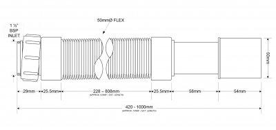Патрубок пластиковый McALPINE с гайкой 1 1/2х40/50/1000 мм универсальный гибкий (5036484019110)