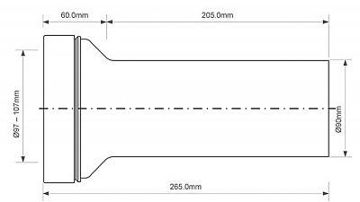 Патрубок пластиковый McALPINE для инсталляций 90 мм (5036484064660)