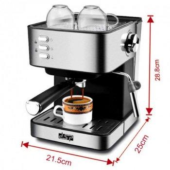 Кофеварка эспрессо рожковая кофемашина полуавтоматическая DSP Espresso Coffee Maker KA-3028 850W с капучинатором