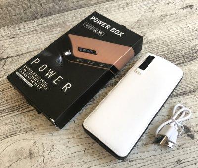 Power Bank Box 50000mAx 3 USB + ліхтарик Тонкий,УМБ,павер банк Original (88) білий