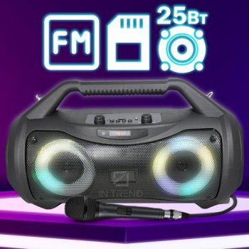 Портативна колонка Column ZQS-5303 музична Бездротова блютуз з LED підсвічуванням і вбудованим акумулятором - Портативна акустична USB система з двома динаміками + Bluetooth + micro cd + мікрофон для вулиці і вдома, Чорний