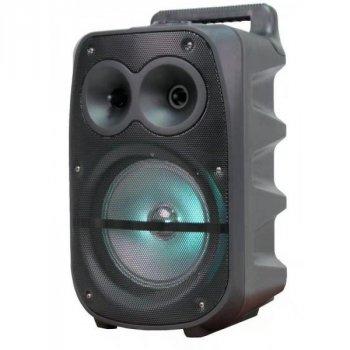 Музична колонка Column BT-1777 USB переносна блютуз з LED підсвічуванням і вбудованим акумулятором - Портативна бездротова акустична система з двома динаміками + Bluetooth + micro cd + провідним мікрофон для вулиці і вдома, Чорний