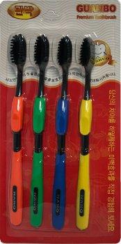 Набор зубных щеток Nano бамбуковые 4 шт Черные (2000992394666)