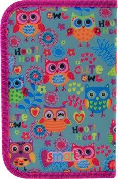 Пенал Smart Funny owls твердий одинарний з двома клапанами 1 відділення Різнобарвний (532020)