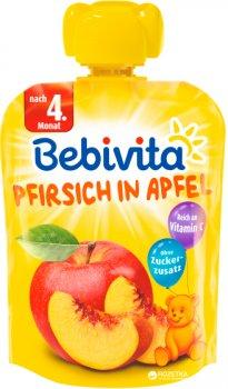 Упаковка фруктового пюре Bebivita Яблуко-персик з 4 місяців 90 г х 16 шт. (4018852018568_4018852021469)