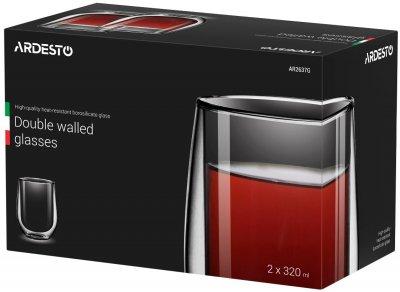 Набор чашек Ardesto AR2637G с двойными стенками стекло 320 мл высота 11 см 2 шт