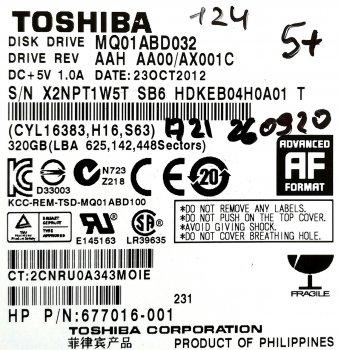 "Жорсткий диск для ноутбука Toshiba 320GB 2.5"" 8MB 5400rpm 3Gb/s (MQ01ABD032) SATAII Б/У"