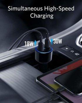 Автомобильное зарядное устройство Anker PowerDrive+ III Duo - 30W PD + 18W USB-C Black (A2725H11)