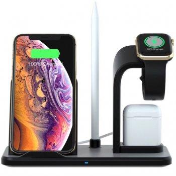 Беспроводное зарядное устройство док-станция 3 в 1 Barch Wireless Fast Charger + Apple Watch + AirPods Black