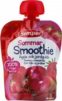 Упаковка фруктового пюре Semper Смузі з яблука та полуниці з 6 місяців 90 г х 12 шт. (17310100701777)