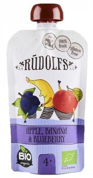 Упаковка фруктово-ягідного органічного пюре Rudolfs Смузі яблуко-банан-чорниця 110 г х 6 шт. (24751017940956)