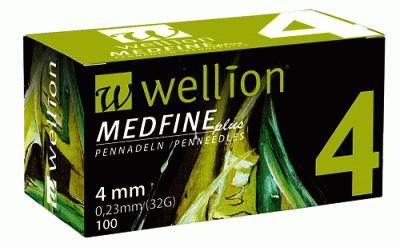 Иглы Медфайн Wellion Medfine Plus для инсулиновых шприц ручек 4 мм (32G x 0,23 мм)