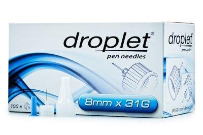 Иголки инсулиновые для шприц ручек Droplet HTL Strefa Дроплет 8 мм (31G x 0,25 мм)