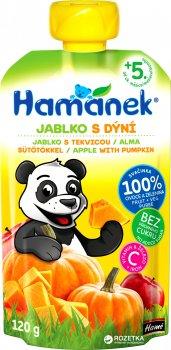 Упаковка фруктово-овочевого пюре Hamanek яблуко з гарбузом 120 г х 8 шт. (8595139790509)