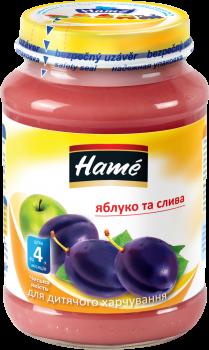 Упаковка фруктового пюре Hame Яблуко та слива з 4 місяців 190 г х 10 шт. (8595139717179)