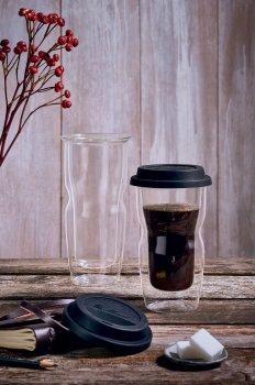 Чашка Luigi Bormioli Thermic Glass Coffee To Go с крышкой 340 мл (12837/01)
