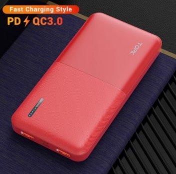 Зарядний пристрій Power Bank TOPK Швидка зарядка QC 3.0 10000 mAh Червоний