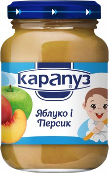 Упаковка фруктового пюре Карапуз яблуко та персик 200 г х 12 шт. (4820012000067_4820134721055)