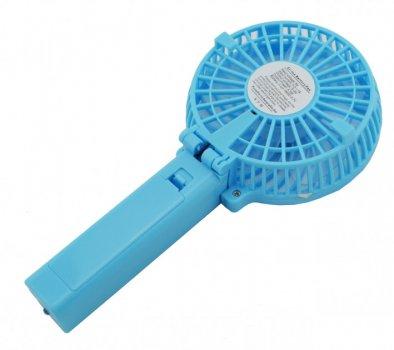 Вентилятор акумуляторний міні діаметр 10 см з ручкою USB Handy Mini Fan блакитний