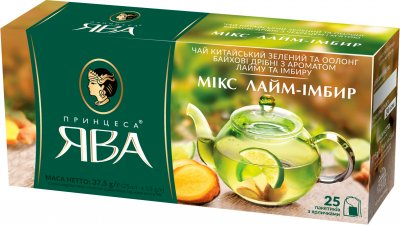 Упаковка чая зеленого пакетированного Принцесса Ява Микс лайм-имбирь 24 шт по 25 пакетиков (4823096806365)