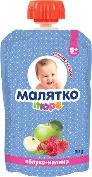 Упаковка дитячого пюре Малятко Яблуко-малина в павукові 90 г х 18 шт (4820123511568_4820123511605)