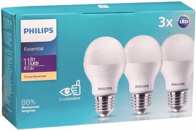 Світлодіодна лампа Philips ESS LED Bulb 11 W E27 3000 K 3 шт. (929001900247)