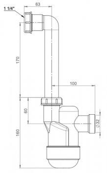 """Сифон для кондиционера PREVEX Ventloc с накидной гайкой 5/4"""" со сливной трубой 32 мм (3000008)"""