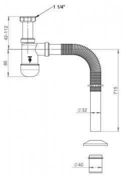 """Сифон для раковины PREVEX Basic c накидной гайкой 5/4"""" со сливной гофрой 32/40 мм (PR3-B4NF3-001)"""