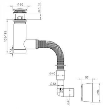 Сифон для раковины PREVEX EasyClean с гофрой 32/40х892 мм клик-клак с переливом пластик хром (1532403)