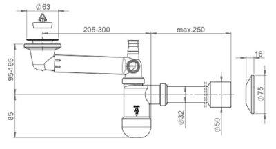 Сифон для раковины PREVEX Preloc со сливной трубой 32/50 мм (PR3-D4N35-001)