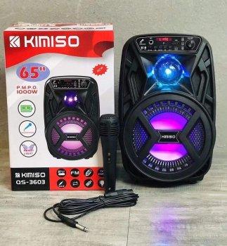 """Акумуляторна бездротова Bluetooth колонка Kimiso QS-3603 (6.5"""") з мікрофоном та підсвіткою"""