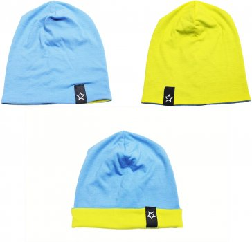 Демисезонная шапка Danaya Двухсторонняя 139F/17 46 см Голубая/Желтый (2000013264909)