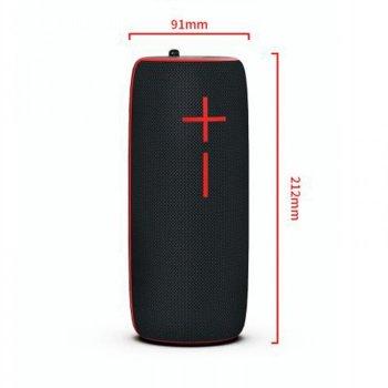 Портативная Bluetooth колонка Hopestar P21 ФМ, MP3, USB Чёрная с красным 48033