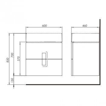 Тумба під умивальник Kolo Twins 60см з двома ящиками 89492000 білий глянець (72199)