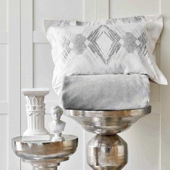 Комплект постельного белья с пледом Karaca Home Karlo gri серый 200х220 5 предметов (svt-2000022265270)